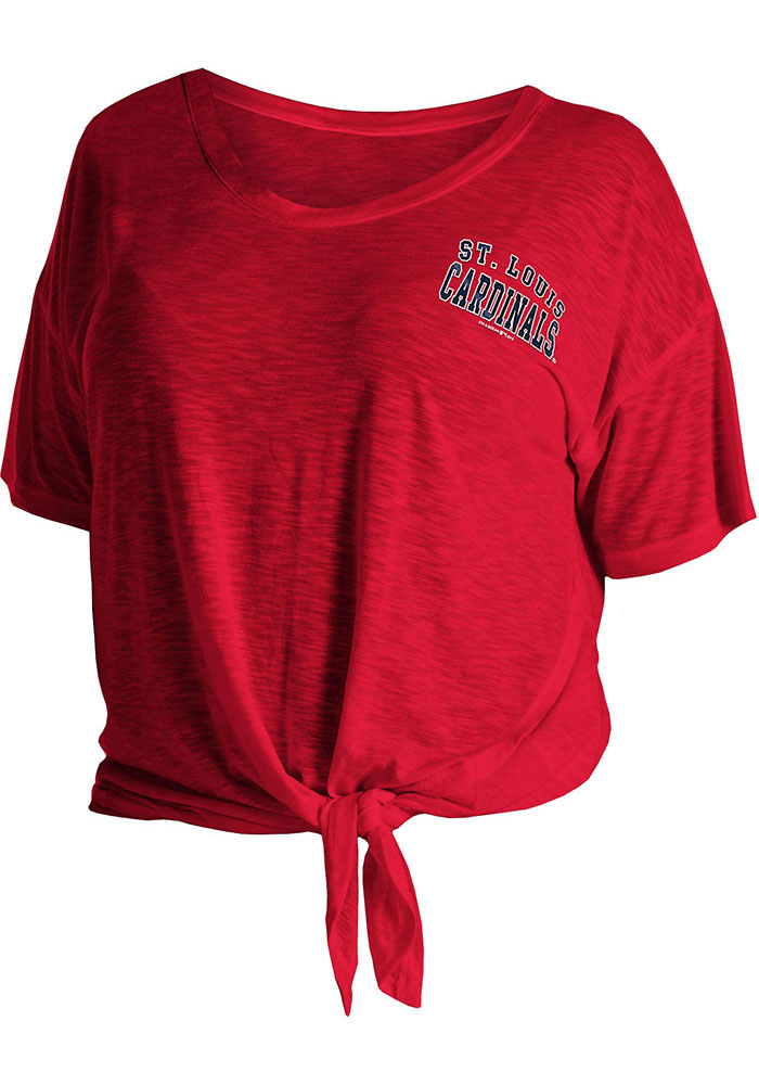 St Louis Cardinals Womens Red Plus Side Tie Short Sleeve T-Shirt - Image 1