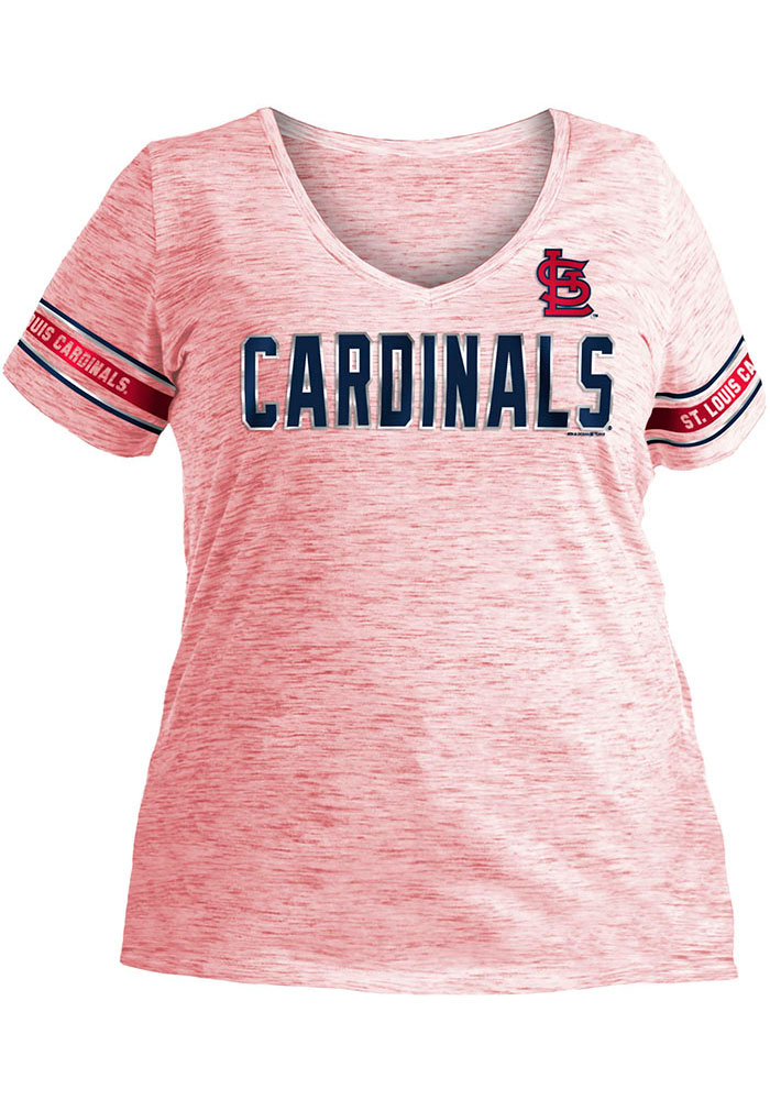 St Louis Cardinals Womens Red Plus Space Dye V Short Sleeve T-Shirt - Image 1