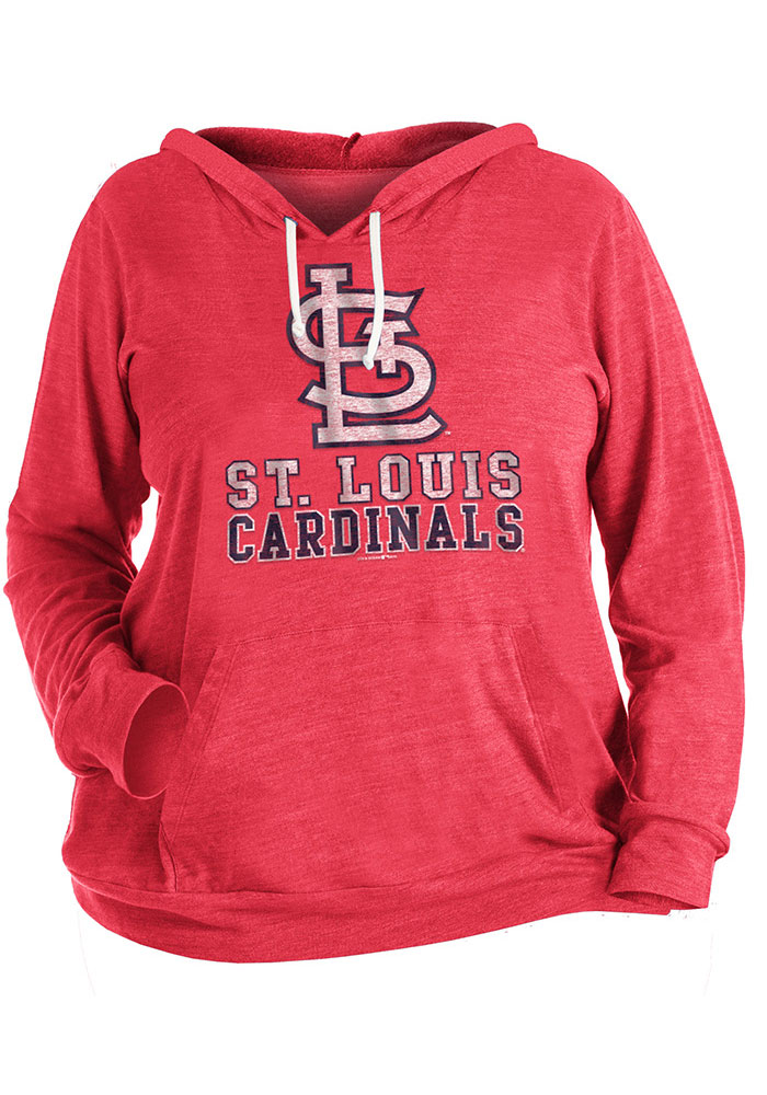 watch 7bf60 6438f St Louis Cardinals Womens Red Plus Tri-Blend Draw String Hooded Sweatshirt