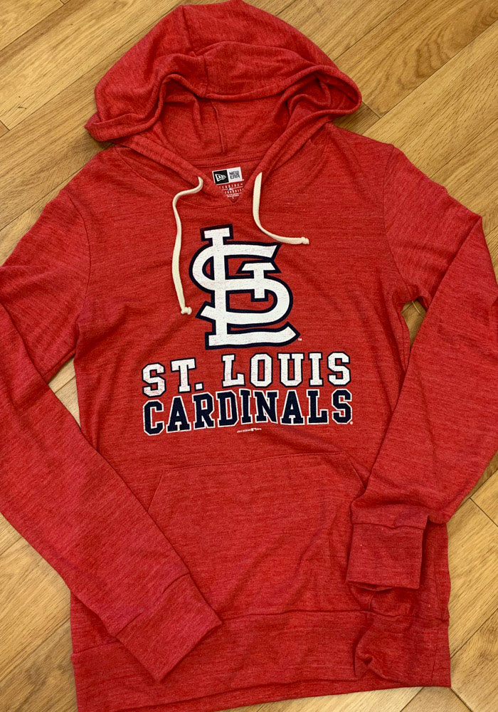 St Louis Cardinals Womens Red Plus Tri-Blend Draw String Hooded Sweatshirt - Image 2