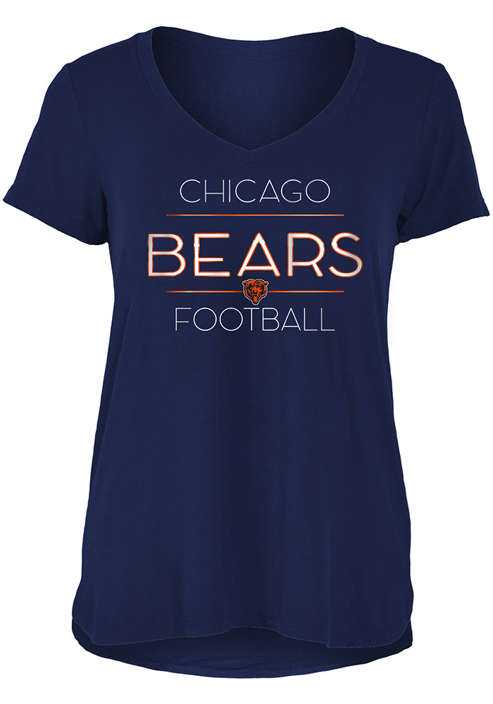 Chicago Bears Womens Navy Blue Novelty Short Sleeve T-Shirt - Image 1