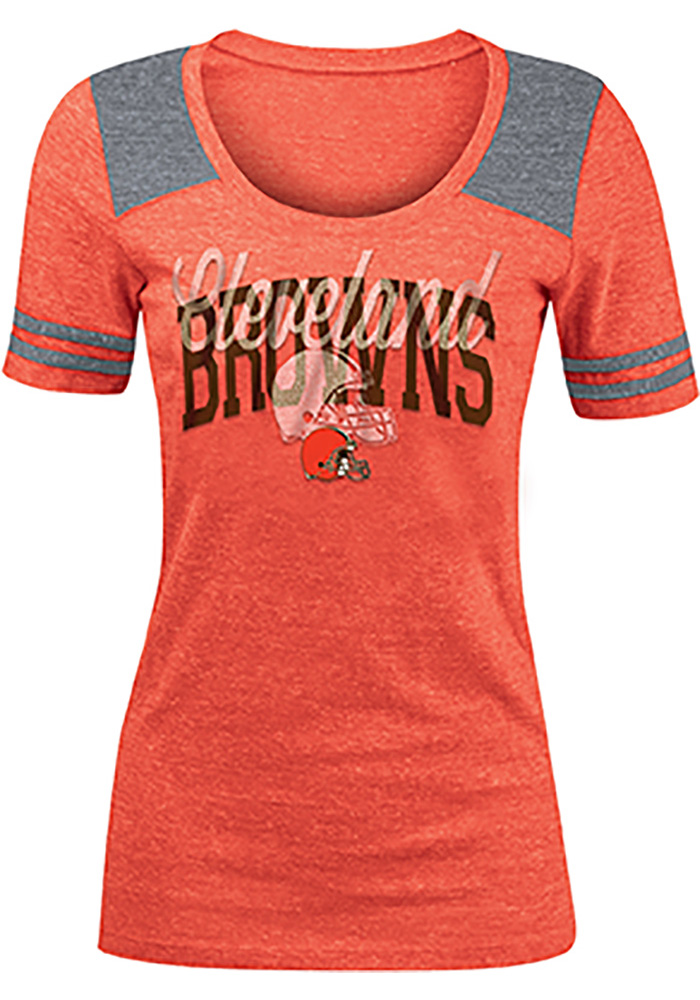 Cleveland Browns Womens Orange Clear Flake Short Sleeve T-Shirt - Image 1