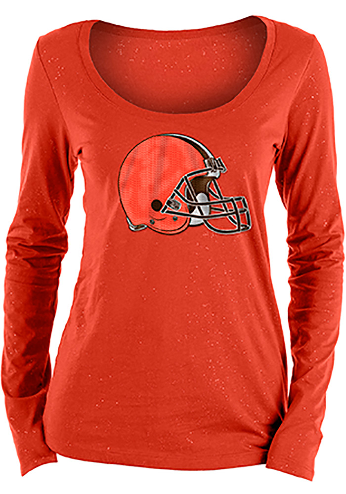 Cleveland Browns Womens Orange Holiday LS Tee - Image 1