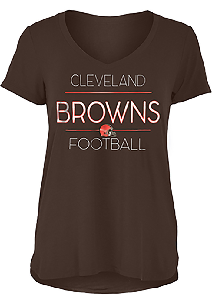 Cleveland Browns Womens Brown Novelty Short Sleeve T-Shirt - Image 1