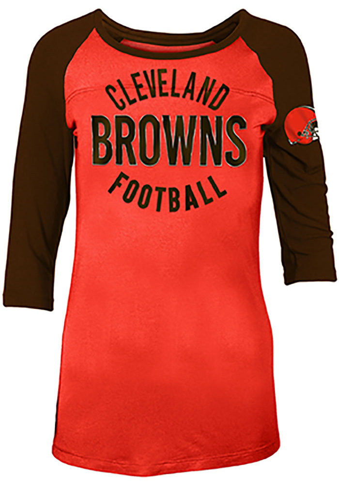 Cleveland Browns Womens Orange Novelty LS Tee - Image 1