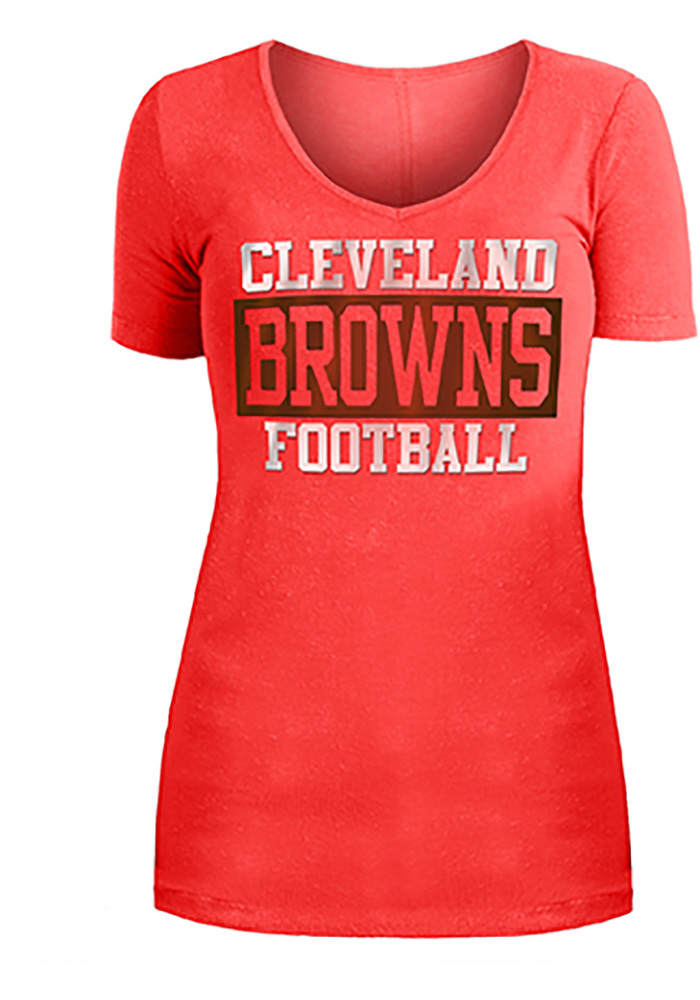 Cleveland Browns Womens Orange Washes Short Sleeve T-Shirt - Image 1
