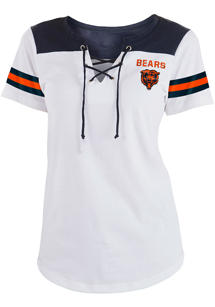 Chicago Bears Womens White Athletic Short Sleeve T-Shirt - Image 1
