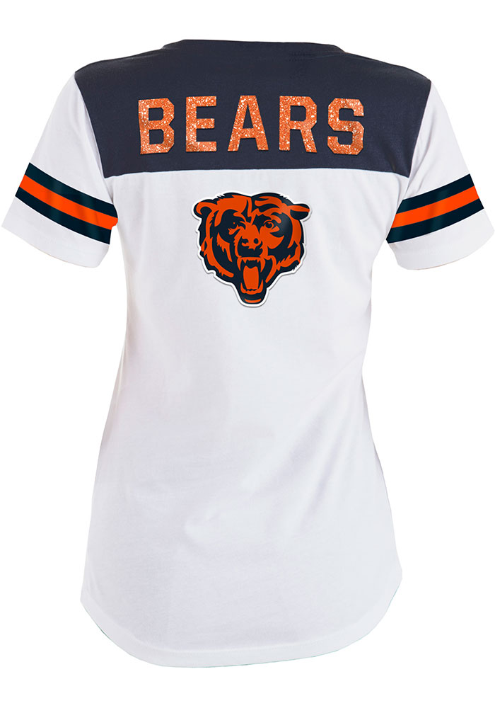 Chicago Bears Womens White Athletic Short Sleeve T-Shirt - Image 2