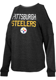 Pittsburgh Steelers Womens Triblend Crew Sweatshirt - Black