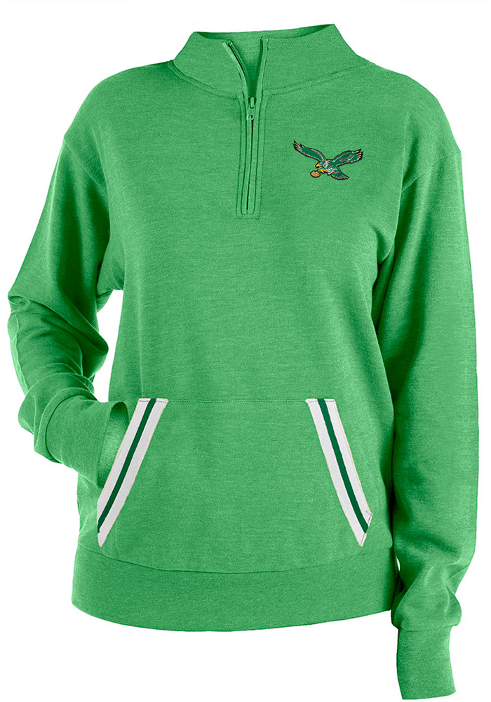 Philadelphia Eagles Womens Triblend Kelly Green 1/4 Zip Pullover