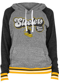 Pittsburgh Steelers Womens Classic Hooded Sweatshirt - Grey