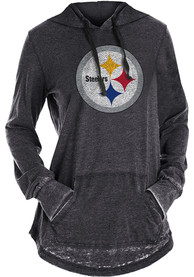Pittsburgh Steelers Womens Washes Hooded Sweatshirt - Black