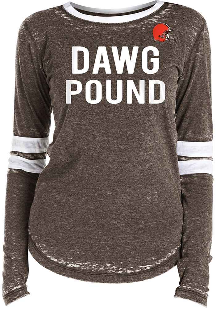 Cleveland Browns Womens Brown Washes LS Tee - Image 1