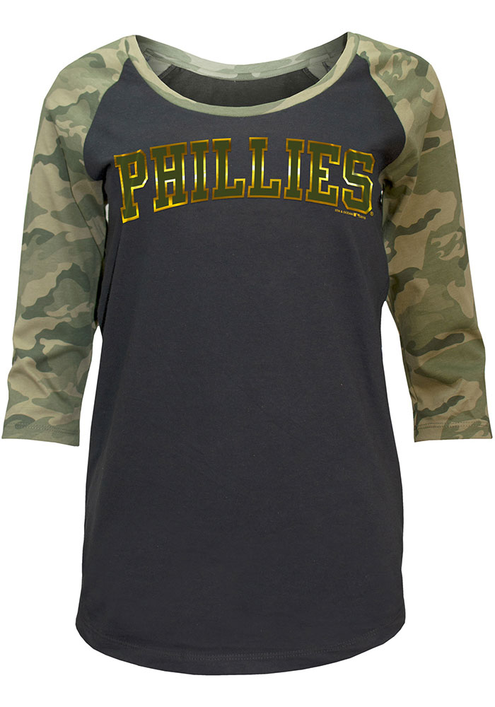 Philadelphia Phillies Womens Black Armed Forces Day LS Tee - Image 1