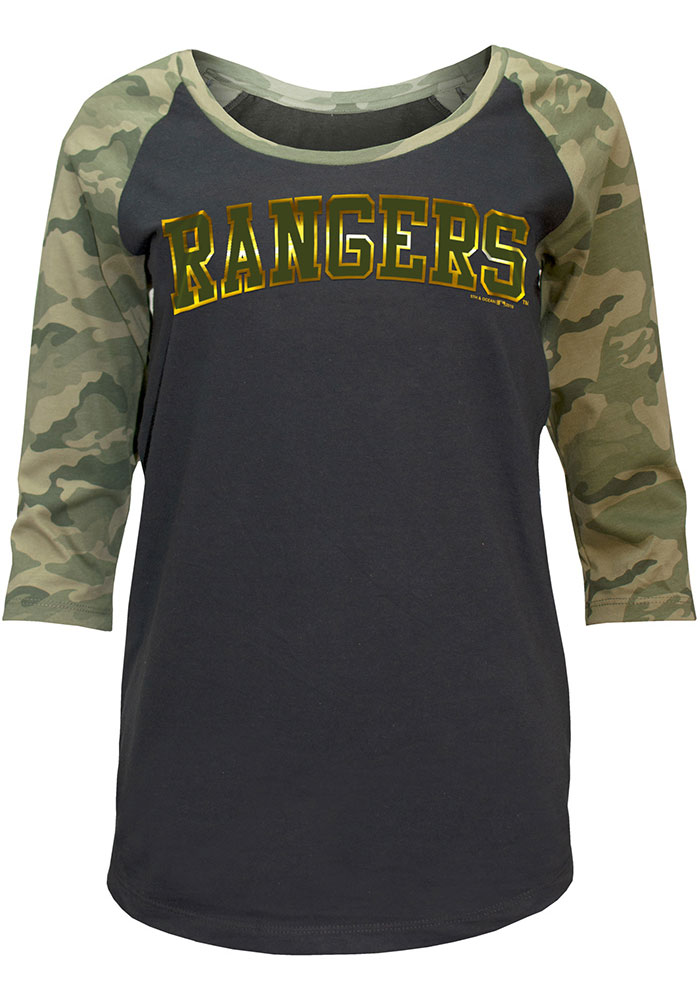 Texas Rangers Womens Black Armed Forces Day LS Tee - Image 1