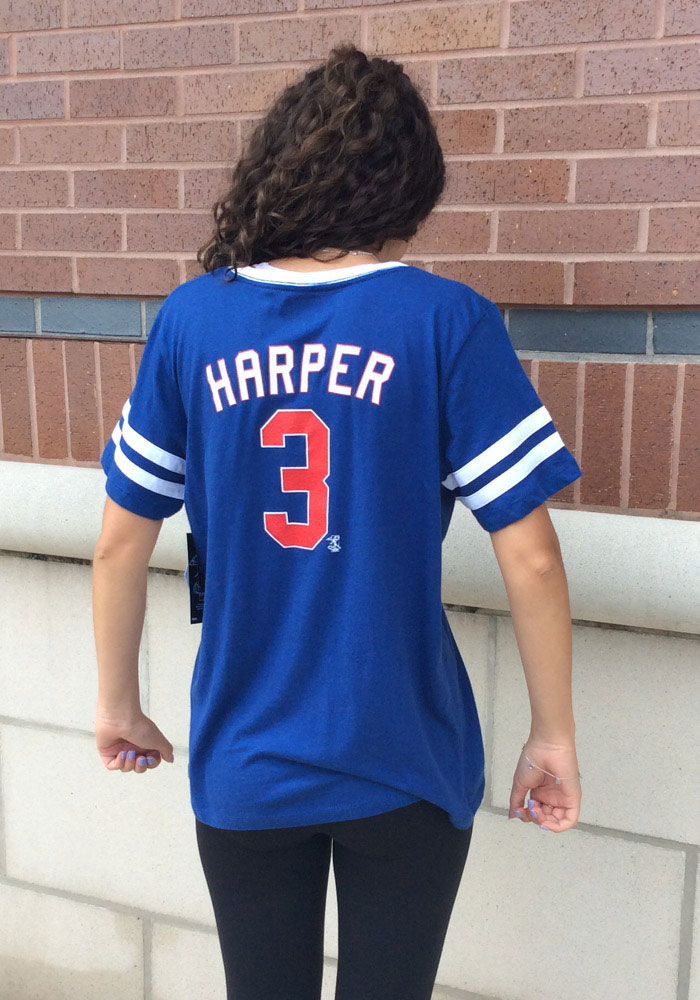 finest selection 170e3 f07c8 Bryce Harper Philadelphia Phillies Womens Blue Baby Jersey Sleeve Stripe V  Player T-Shirt