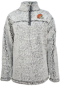 Cleveland Browns Womens Sherpa 1/4 Zip Pullover - Grey