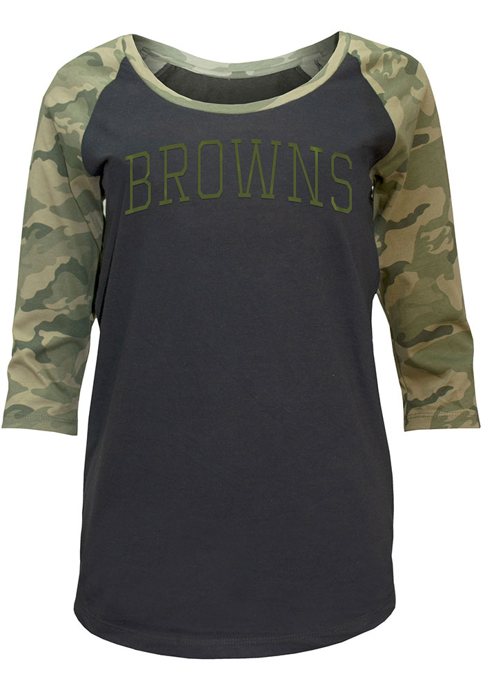 Cleveland Browns Womens Black Camo LS Tee - Image 1