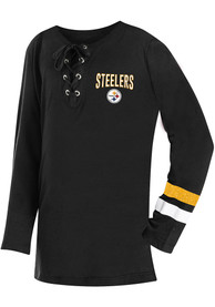 Pittsburgh Steelers Girls Lace Up Long Sleeve T-shirt - Black