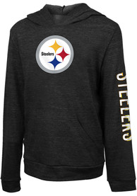Pittsburgh Steelers Girls Primary Hooded Sweatshirt - Black
