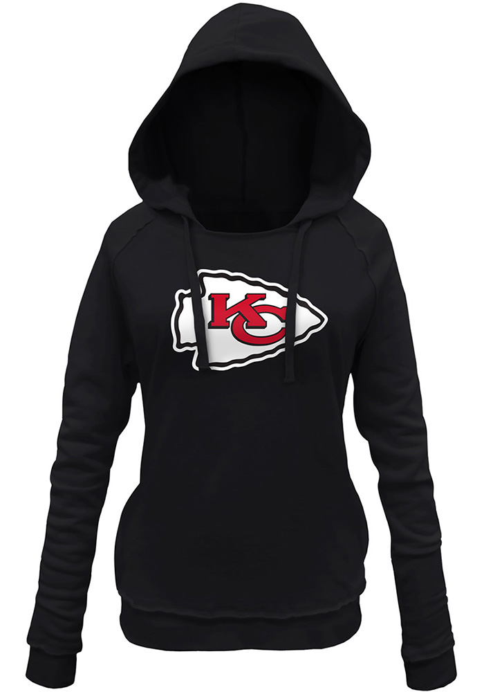 Kansas City Chiefs Womens Black Primary Logo Brushed Fleece Hooded Sweatshirt - Image 1