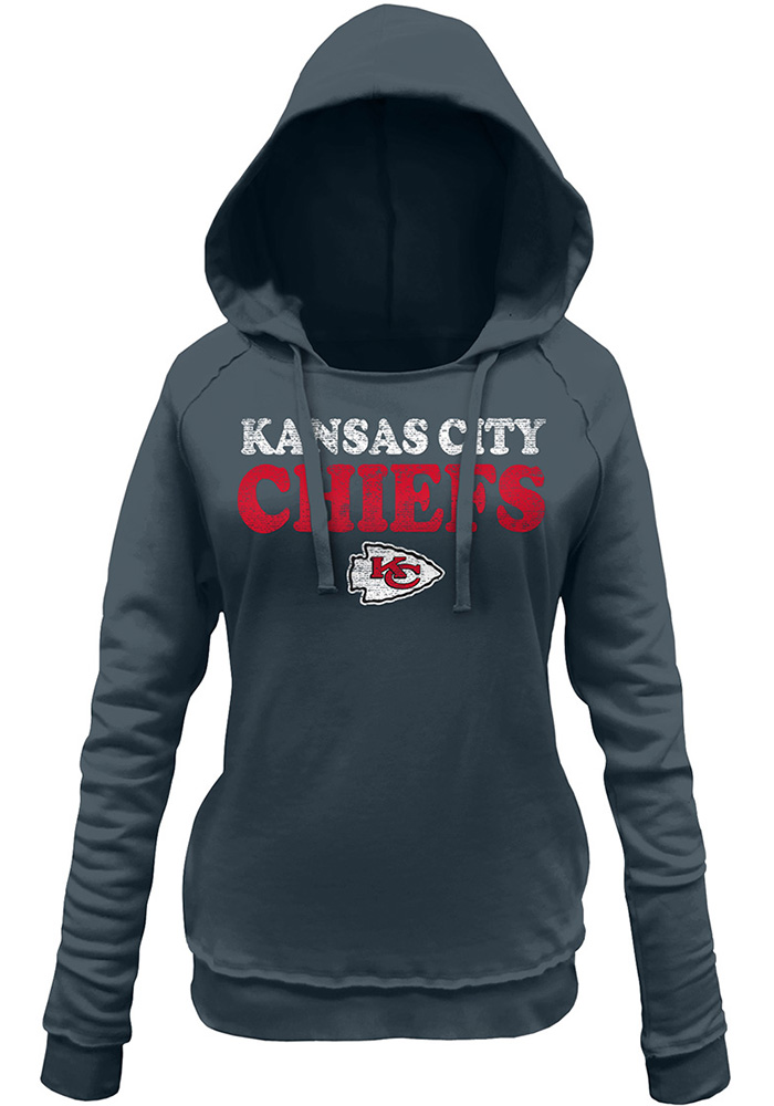 Kansas City Chiefs Womens Charcoal Primary Throwback Brushed Fleece Hooded Sweatshirt - Image 1