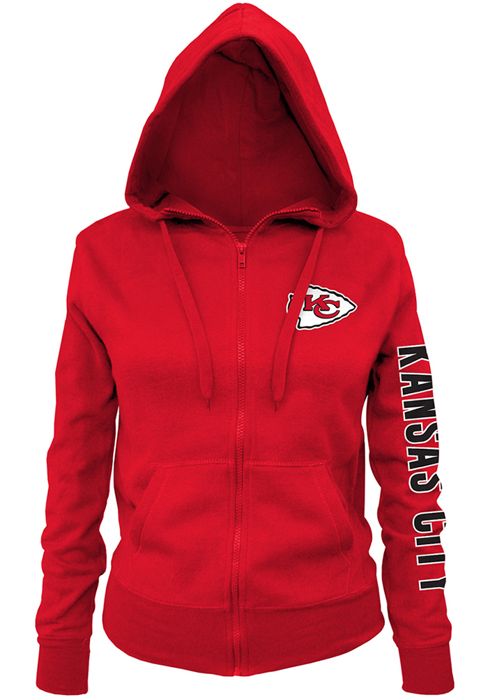 Kansas City Chiefs Womens Red Primary Logo Two Hit Brushed Fleece Long Sleeve Full Zip Jacket - Image 1
