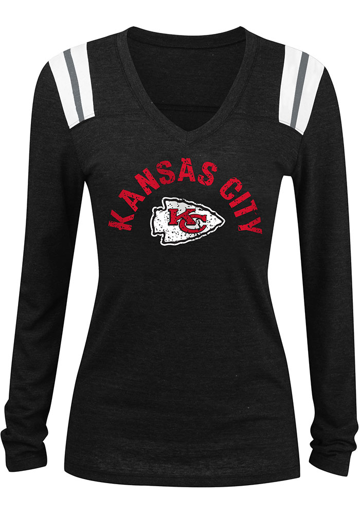 Kansas City Chiefs Womens Black Distressed Arch Wordmark LS Tee - Image 1