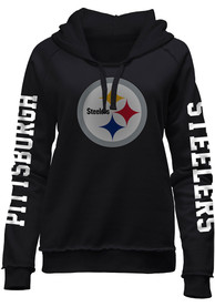 Pittsburgh Steelers Womens Three Hit Brushed Fleece Hooded Sweatshirt - Black