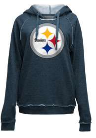 Pittsburgh Steelers Womens Primary Logo Brushed Fleece Hooded Sweatshirt - Charcoal