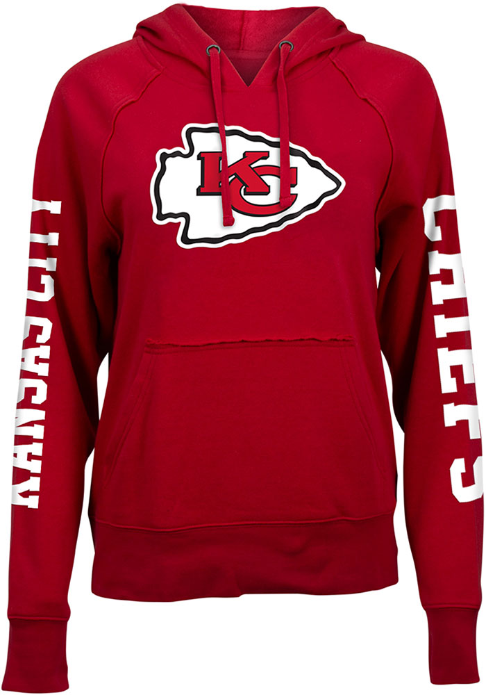 Kansas City Chiefs Womens Red Three Hit Lifestyle Fleece Hooded Sweatshirt - Image 1
