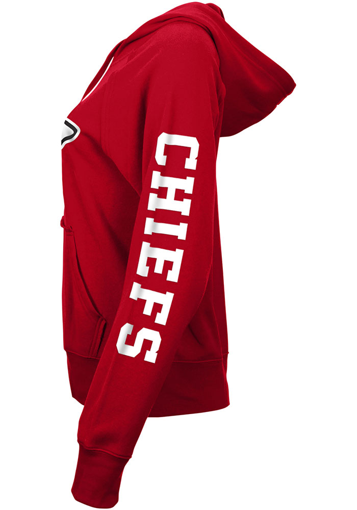 Kansas City Chiefs Womens Red Three Hit Lifestyle Fleece Hooded Sweatshirt - Image 2