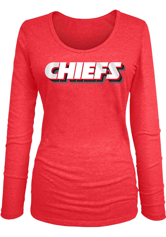 Kansas City Chiefs Womens Stacked Font LS Tee - Image 1