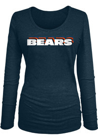 Chicago Bears Womens Stacked Font T-Shirt - Navy Blue