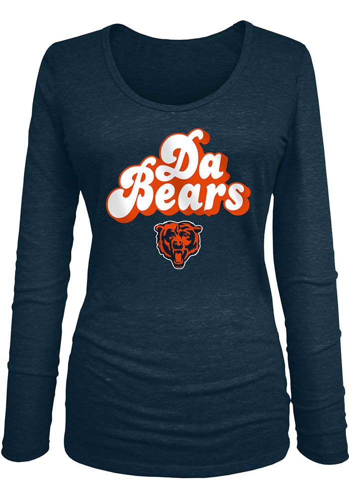 Chicago Bears Womens Groovy Script T-Shirt - Navy Blue