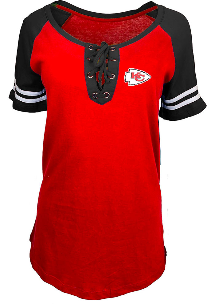 Kansas City Chiefs Womens Red Lace Up Short Sleeve T-Shirt - Image 2