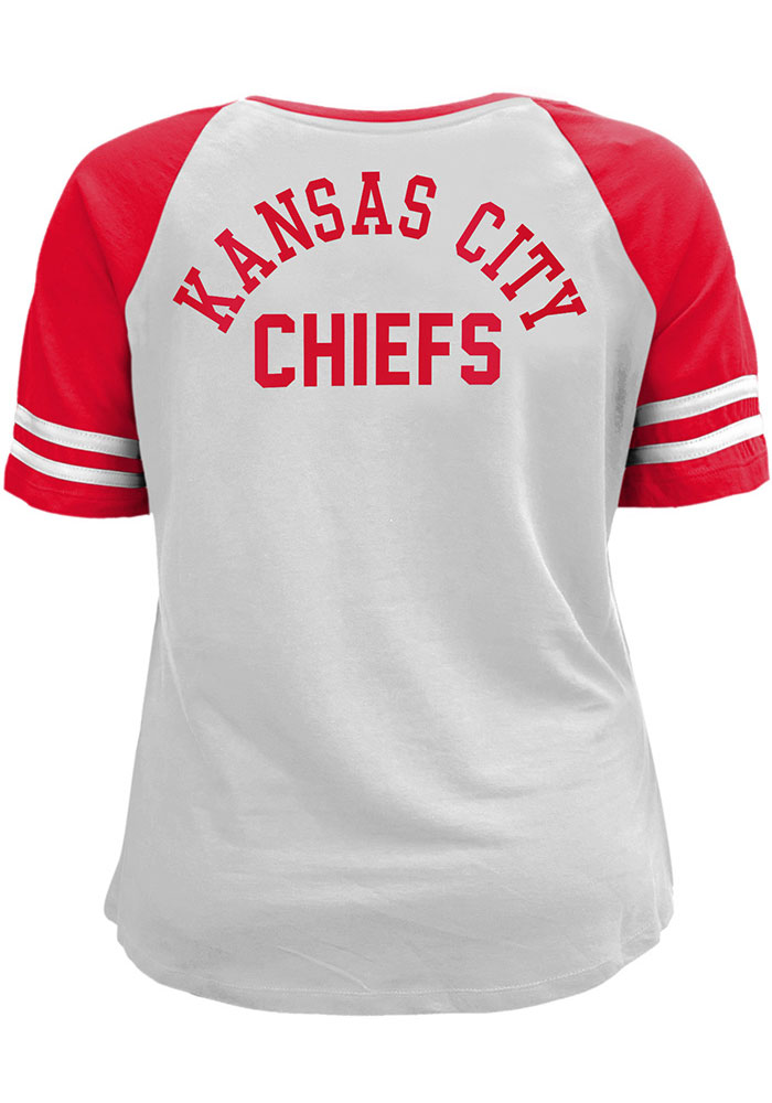 Kansas City Chiefs Womens Red Lace Up Short Sleeve T-Shirt - Image 1