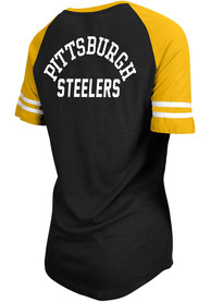Pittsburgh Steelers Womens Lace Up T-Shirt - Black