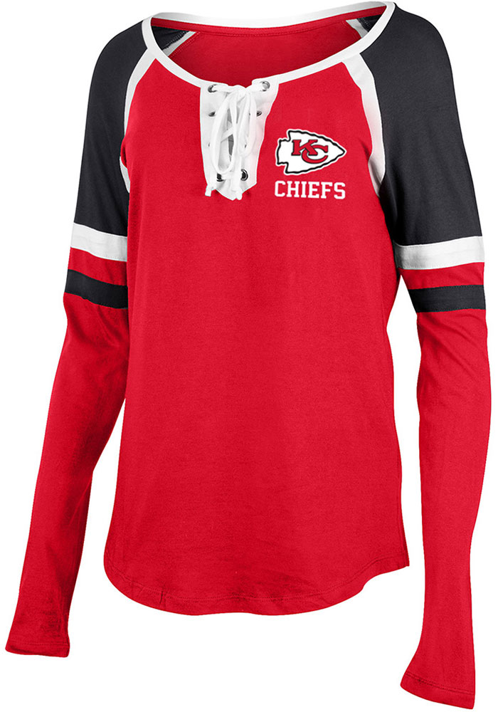 Kansas City Chiefs Womens Red Lace Up LS Tee - Image 1