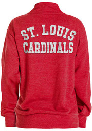 St Louis Cardinals Womens Triblend 1/4 Zip Pullover - Red