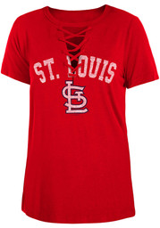 St Louis Cardinals Womens Lace Up T-Shirt - Red