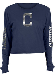 Cleveland Indians Womens Athletic Foil Crop Crew T-Shirt - Navy Blue