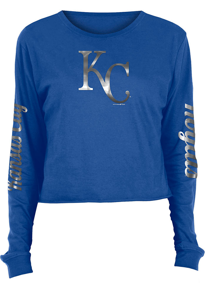 Kansas City Royals Womens Athletic Foil Crop Crew T-Shirt - Blue