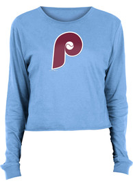 Philadelphia Phillies Womens Athletic Cooperstown Crop Crew T-Shirt - Light Blue