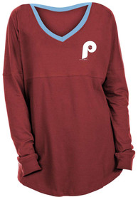 Philadelphia Phillies Womens Athletic Cooperstown Band V T-Shirt - Maroon