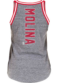 Yadier Molina St Louis Cardinals Womens Flocked Tri-Blend Tank Top - Grey