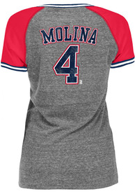 Yadier Molina St Louis Cardinals Womens Tri-Blend Stripe Raglan V T-Shirt - Grey