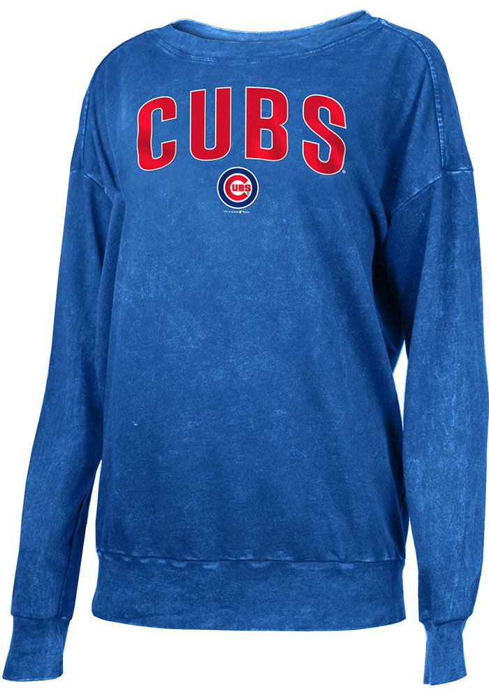 Chicago Cubs Womens Mineral Wash Pullover Crew Sweatshirt - Blue