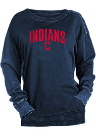 Cleveland Indians Womens Mineral Wash Pullover Crew Sweatshirt - Navy Blue