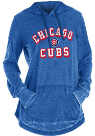 Chicago Cubs Womens Burnout Wash Hooded Sweatshirt - Blue